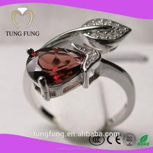 2015 best selling natural garnet male silver rings