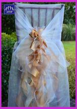 Elegant Organza Ruffled Chiavari Chair Cover Wedding Swirl Chair Sash