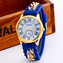 GENEVA Fashion silicone gold chain women wristwatch Roman 3 eyes Casual personality quartz watch relogio