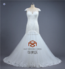New Style SHMY-W177 Back out Cap Sleeve Lace Appliqued Mermaid Wedding Dress with Train