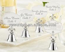 """Fleur de Lis"" Kissing Bell Place Card/Photo Holder wedding card holder"