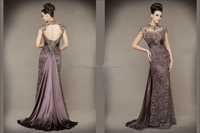 Fashion O-Neck Backless Appliques Beading lace Cap Sleeve evening dress FXL-811