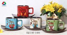 Eco-friendly double glaze ceramic coffee mug hand draw ceramic mug