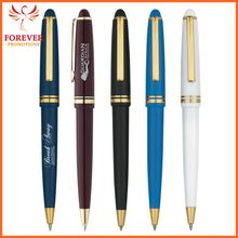 Cheap Custom Logo Metal Cap Action Blue Ink Ballpoint Pen With Gold Accents On Cap