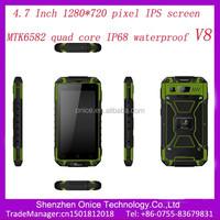 "4.7"" V8 IPS 1280*720 unlock rugged mobile MTK6582 quad Core rugged phone 2 dual sim ip67 rugged smart phone 8.0 MP camera"