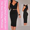 New Arrival Wholesale Black Faux Wrap Belted Fashion V Neck Bandage Dress