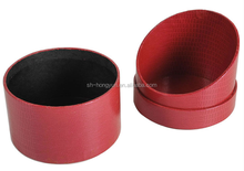 untique design vacuum slant leather tube box/cylinder box for jewelly ,watch