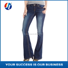 ladies jeans top design dark wash mid rise flare leg jean boot cut jeans