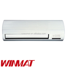Wall mounted electrical room ceramic fan heater 1000w 2000w 2 heat settings,0-7.5hour timer, with remote control