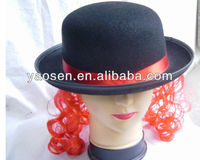 black felt derby hat with red wig and red ribbon