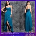 Un- la línea moderna de gasa vestido strapless se reunieron corpiño hi-low azul real de la muestra real vestido de dama de honor