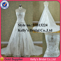 sexy hot sale expensive appliqued and gold crystal bead wedding dresses