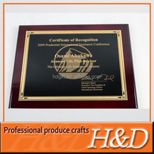High quality wholesale blank wood metal plaque with different name