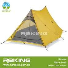 yellow triangle camping tent