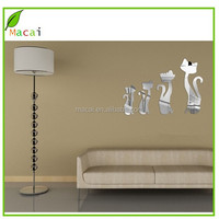 silver color four cates mirror wall sticker