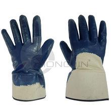 Heavy duty, de ancho brazalete, abierto- la espalda recubierto de nitrilo guantes de trabajo