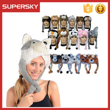 A-955 Soft Furry Winter Animal Hat Plush Faux Fur Animal Critter Hat Cap Plush Animal Winter Ski Hat with Ear Poms and Flaps