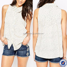 oem clothing factory street wear custom sleeveless polka dot t shirt 100% white polyester t-shirt