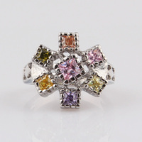 Wholesale Chinese Jewelry Nickel And Lead Compliant Square Shape Colorful Finger Rosary Ring