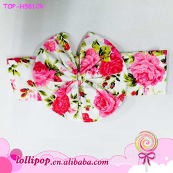 2015 Baby girl big bow hairbands cotton floral turban infants bowknot headbands