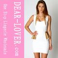 adornos de lentejuelas detalle peplum vestido blanco elegante 2014