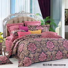 Hot sale Reactive printing Tribute Silk 4Pcs bedding sets, include Duvet Cover Bed sheet Pillowcase,King Queen size-Plant