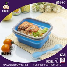 Rectangular Portable Silicone Folding Lunch Box/Collapsible Silicone Lunch Box