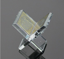 gold print Crystal Glass Quran with Stand for Muslim Crafts MH-L0372