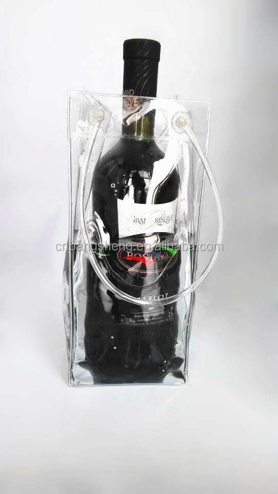 2014 China Eco-friendly Waterproof Plastic Wine ice Bag With Handle