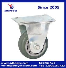 5 Inch Rigid Plate Caster, Grey PU Wheel, 180-lb Load Capacity