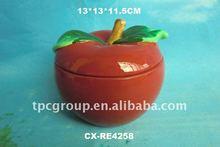 CERAMIC CHRISTMAS apple JAR