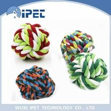 Ipet hot sell popular knots rope running chew pet toy balls