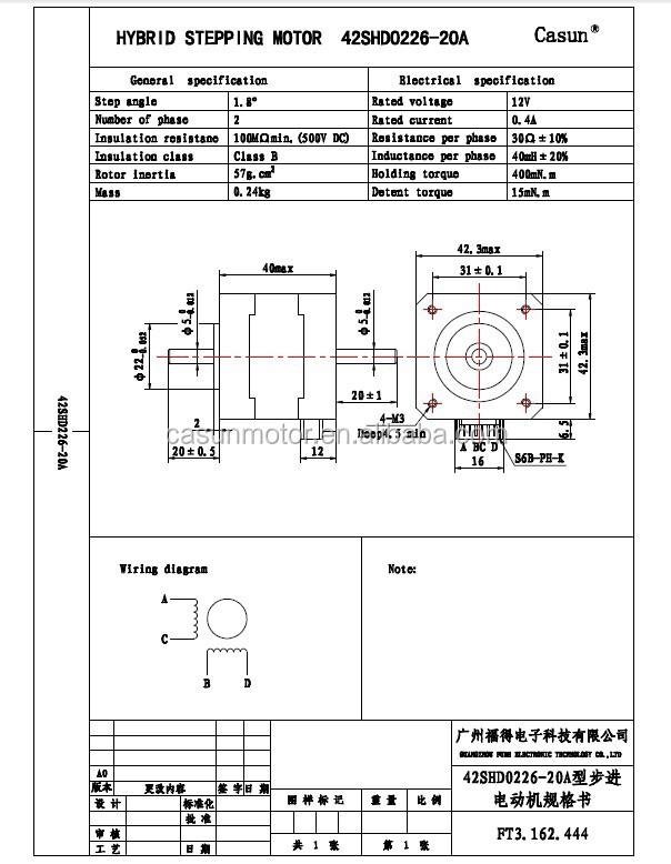 Hybride 400mn m 1 8 fils grau 12 v dc moteur nema 17 for Nema 42 stepper motor datasheet