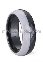Awesome Polished & Faceted Two Tone Ceramic Ring half white half black