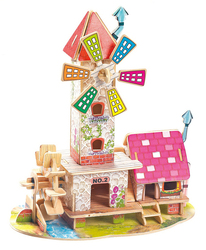 2015 hot kid toy Windmill wooden cubby house with animal