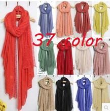 37 color women Popular Lace cotton Flower Plain Pure Color Women Pattern Scarf Voile Cotton Scarves 180*110 Pashmina moq 10pcs