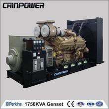 1750kva 50hz open type turbine engine high frequency generator with AVR