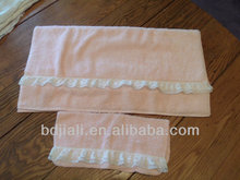 , Bath and Wash Cloth, Thick Terry, Lady Pepperell USA ,Lovely Peach Lace Towel Set