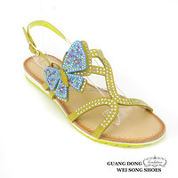 butterfly rhinestone ornament slip-on new girls flat sandals design latest flat shoes for women 2015