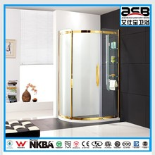 special golden color framed 8mm clear glass le relax shower screen