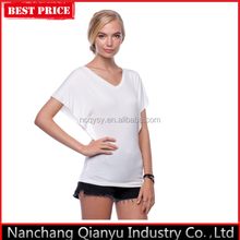 Fashionable 100% Cotton Loose Double V-Neck Plain White Sexy Women's T-shirt In Europe