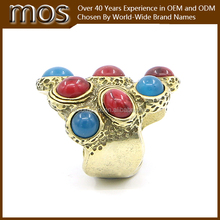 red onyx and blue turquoise multi-color fashion ring