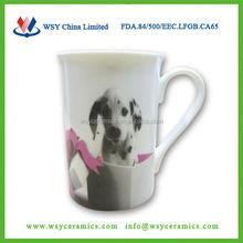 2015 hot-selling custom dog printing thin new bone china coffee mug with FDA, LFGB, CA65,84/500/EEC approved