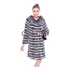 QD80153 Winter Women Real Layered Grey Rabbit Fur with Silver Fox Coat