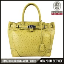 Luxurious ladies fashion exotic leather handbag in real ostrich leather, top grade exotic bag manufacturer