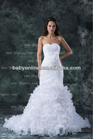 2013 New Elegant Sexy Sweehteart Organza Mermaid Wedding Dresses With Flwoers and Layers BO000153