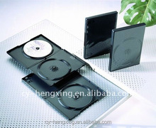 pp 14mm long double cheap plastic black dvd case with smooth /matte sleeve