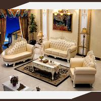 danxueya-American style luxury chesterfield blue leather sofa set living room furniture/vintage luxury palace baroque sofa set