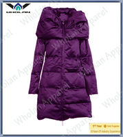 2013 latest trendy ultralight Quilted Pattern feather winter long down jacket women