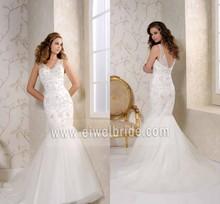 Trumpet/Mermaid V-Neck Floor-Length Tulle Sleeveless Wedding Dress Whole Sale China S008